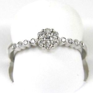 Round Diamond Lady's Solitaire Ring 14k WG .28Ct